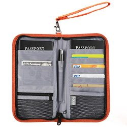 Travel Passport Wallet – VIVEFOX RFID Passport Bag /Travel Document Organizer – ORANGE