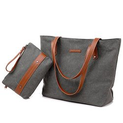 Women's Large Canvas Tote Bag Casual Handbag Travel Shoulder Bag with Small Coin Purse Wristlet  ...