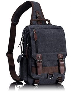 Leaper Canvas Message Sling Bag Outdoor Cross Body Bag Messenger Shoulder Bag (Medium,Black)