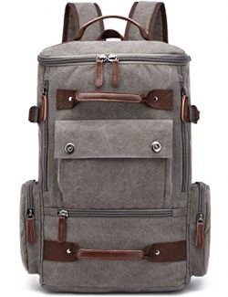 "Canvas Backpack, Aidonger Vintage Canvas School Backpack Hiking Travel Rucksack Fits 15"" L ..."