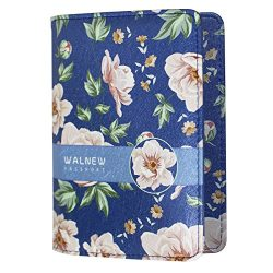 WALNEW Passport Holder Cover Case Travelling Passport Cards Carrier Wallet Case (B-Orange Flowers)