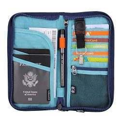 Zoppen RFID Travel Wallet & Documents Organizer Zipper Case, Family Passports Holder with Re ...