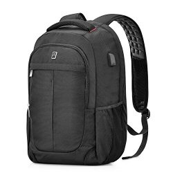 Laptop Backpack,Sosoon Business Bags with USB Charging Port Anti-Theft Water Resistant Polyester ...