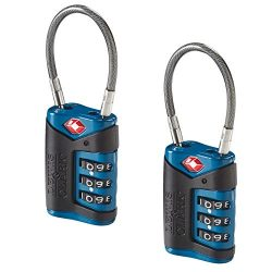 Lewis N. Clark TSA-Approved Combination Luggage Lock With Steel Cable (2-Pack),  Blue, One Size