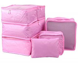 7 Set Travel Packing Organizer,Waterproof Mesh Durable Luggage Travel Cubes,1 Shoe Bag (Pink-A)