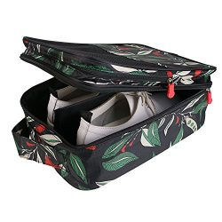 Travel Shoe Bag with Zipper Waterproof Portable Storage Organizer Bags for Women (Green Leaves)