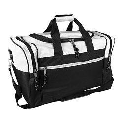 DALIX 17″ Blank Duffle Bag Duffel Bag Travel Size Sports Durable Gym Bag (White)