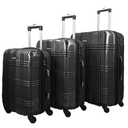 3 Piece Luggage Set Durable Lightweight Spinner Suitecase-LUG3-GL8109-DARK GREY