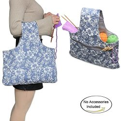 "Teamoy Knitting Tote Bag(L16.5""×H10""), Travel Canvas Project Wrist Bag for knitting  ..."