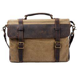 S-ZONE Vintage Canvas Genuine Leather Messenger Traveling Briefcase Shoulder Laptop Bag