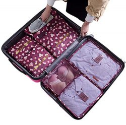 7Pcs Waterproof Travel Storage Bags Clothes Packing Cube Luggage Organizer Pouch(Wine Daisy)