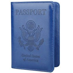 GDTK Leather Passport Holder Cover RFID Blocking Travel Wallet (Navy Blue)