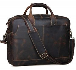 Texbo Genuine Leather Men's Briefcase Messenger Tote Bag Fit 17-18″ Laptop (Dark Bro ...