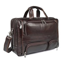 """Polare Real Leather 17""""Laptop Carry On Overnight Bag Business Briefcase Large For Men"""