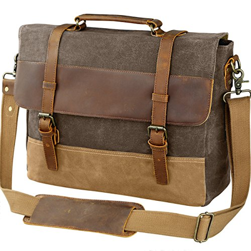 WOWBOX 15.6 Inch Messenger Bag for Mens Waxed Waterproof Canvas Genuine Leather Laptop Messenger .