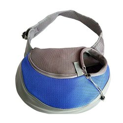Pet Carrier Soft Dog Cat Rabbit Travel Sling Shoulder Bag (Blue, S, fits small animals less than ...
