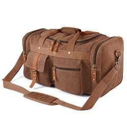 Plambag Oversized Canvas Duffel Bag Overnight Travel Tote Weekend Bag(Coffee)