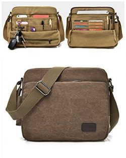 Urmiss Vintage Multifunction Canvas Shoulder Bag Business Messenger Bag iPad Bag Work Field Bag