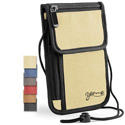 Passport Holder by YOMO. RFID Safe. The Classic Neck Travel Wallet. [New Version-2016]