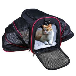 Airline Approved Pet Carrier, TAOTENK Foldable Dog Travel Carrier with Pocket and Removable Mat  ...