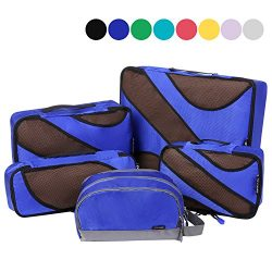 4 Set Packing Cubes,Travel Luggage Packing Organizers with Toiletry Bag Royal Blue