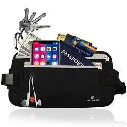Pacasso RFID Blocking Money Belt- Hidden Travel belt- Passport/Card Belt- Ideal for Women or Men ...