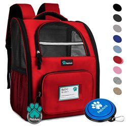 Deluxe Pet Carrier Backpack for Small Cats and Dogs, Puppies by PetAmi   Ventilated Design, Two- ...