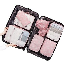 Belsmi 8 Set Packing Cubes – Waterproof Compression Travel Luggage Organizer With Shoes Ba ...