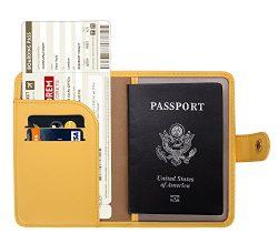 Zoppen Rfid Blocking Travel Passport Holder Cover Slim Id Card Case, #4 Mustard Yellow
