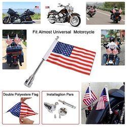 "E-Most Adjustable 6"" x 9"" American Flag + Flagpole Mount Luggage Rack/Fender For Har ..."