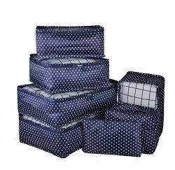 Vercord 7 Set Travel Packing Organizers Cubes Mesh Luggage Cloth Bag Cubes With Bra/Underwear Cu ...
