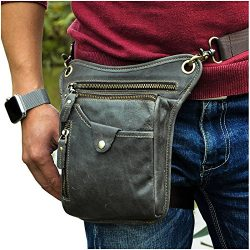 Le'aokuu Mens Genuine Leather Motorcycle Horse Riding Waist Pack Drop Leg Cross Over Bag 2 ...