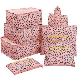 Luggage Cubes,Mossio 7 Pack Lightweight Toiletry Organizer Space Saver Travel Accessories Pink L ...