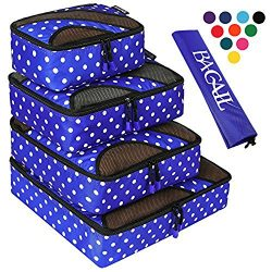 4 Set Packing Cubes,Travel Luggage Packing Organizers with Laundry Bag Dot