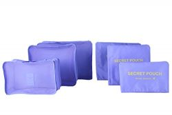 6 sets travel Organizers Packing Cubes Luggage Organizers Compression Pouches (Light purple)