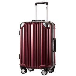 Coolife Luggage Aluminium Frame Suitcase 3 Piece Set with TSA Lock 100%PC (S(20in), Wine red)