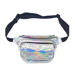 Women Laser Waist Bag Waterproof Shiny Neon Fanny Bag Bum Bag Beach Purse (silver)