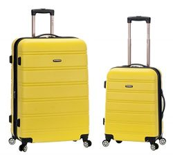 Rockland 20 Inch 28 Inch 2PC Expandable ABS Spinner Set, Yellow, One Size