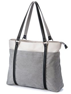 Laptop Tote Bag, GRM Canvas Shoulder Bag, Carrying Handbag for Laptop up to 15.6 inch, Travel Co ...