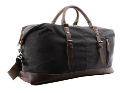 Jiao Miao Overnight Canvas Leather Travel Tote Duffel Shoulder Handbag Bag,170805-black