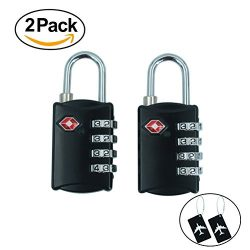 TSA Approved Luggage Locks- 2 Pack Travel Digit Locks for Bag, Suitcase with 2 Cards