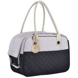 MG Collection Black / Gray Designer Inspired Stylish Quilted Soft Sided Travel Dog and Cat Pet C ...
