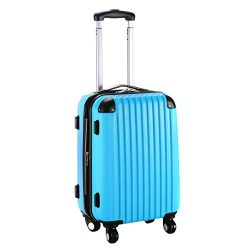 Goplus New GLOBALWAY 20″ Expandable ABS Carry On Luggage Travel Bag Trolley Suitcase (Blue)