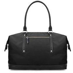 ECOSUSI Duffel Bag Weekender Overnight Bag Large Travel Tote Shoulder Bag for Men & Women, Black