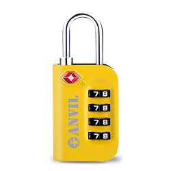 TSA Luggage Locks (1 Pack) – 4 Digit Combination Steel Padlocks – Approved Travel Lo ...