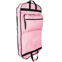 DALIX 39″ Garment Bag Cover Suits Dresses Clothing Foldable Shoe Pocket in Pink