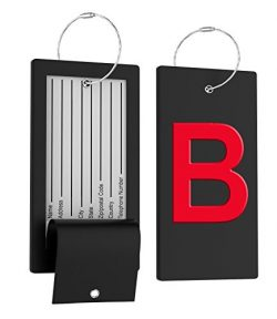 Luggage Tag Initial Bag Tag – Fully Bendable Tag w/ Stainless Steel Loop