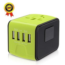 Travel Adapter,International Travel Adapter 3.4A 1500W 4 USB Ports All in One Worldwide AC Wall  ...