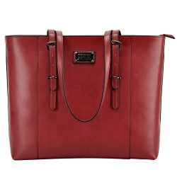 ZYSUN Laptop Bag, Fashion PU Leather Women Work Tote Fits up to 15.6 in Laptop with Multi-Compar ...