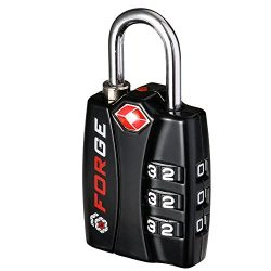 Forge TSA Lock Black-Open Alert Indicator, Alloy Body with Hardened Steel Shackle